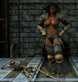 Muscular women with medieval weapons