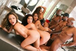 Interracial orgy fuck fest